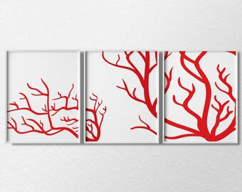 Red Coral Art, Nautical Art, Beach Decor, Coastal Decor, Nautical Decor, Nautical Print, Sea Coral Print, Beach Art, Modern Home Decor