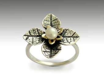 Sterling Silver Leaves Ring, yellow gold silver ring, two-tone ring, pearl ring, floral ring, engagement ring - Tip of the iceberg R1692G
