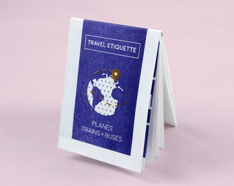 Travel Etiquette Pocket Guide. 2 Colour Risograph Print.