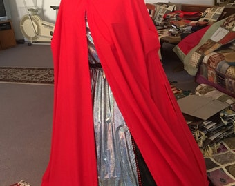 Cape, Long red hooded cape