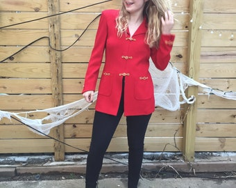 Vintage St. John by Marie Gray Knit Jacket in Red