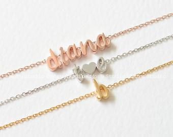 LowerCase Custom Initial Bracelet/ Gold Silver Rose Name Bracelet, Letter Jewelry, Bridesmaid Gift Monogram Bracelet Friendship Bracelet 164