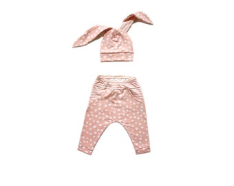 Baby outfit | Newborn outfit | Coming Home Outfit | Harem Pants | Bunny Hat