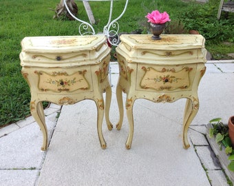 THESE ARE the BOMBE Nightstands / Pair of Venetain Bedside Tables / French Shabby Chic Cottage Style On Sale at Retro Daisy Girl
