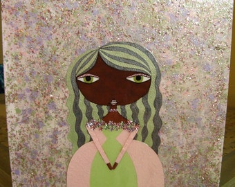 12 x 12 inch Mixed Media Original Painting - Pink and Green I