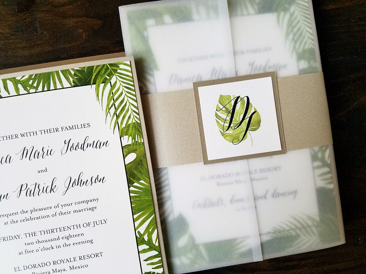 Destination Wedding Invitation Tropical Wedding Invitation