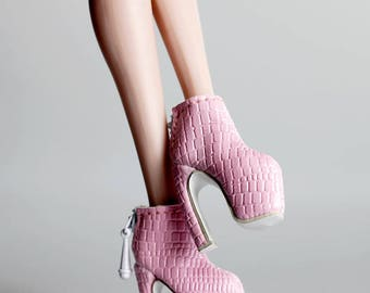 B619 The Vogue Light Pink Pattern Ankle Boots Shoes for Barbie Fashion Royalty FR2 Poppy Parker Silkstone