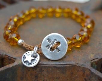 Boho Czech Glass Sterling Bracelet . Sterling Button. Amber Glass. Glass Beads . Wedding Gift . Sterling Star Charm Bracelet. Boho .