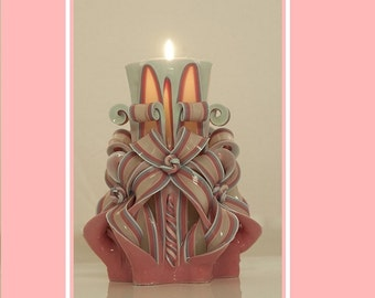 Home decor - Carved Candle - Pink Candle - Luxury candle -  Unique gift