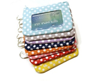 Polka dots zippered id purse key chain. CHOOSE YOUR COLORS! Id card women wallet. Coin purse keychain. Zippered Id pouch. Stocking stuffer