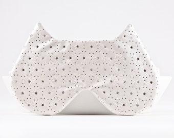 White cat lover Gift Sleep mask New Mom Gift Cat mask Valentines Day Gift for Her stars Gift birthday gift for girl Bridesmaid Gift