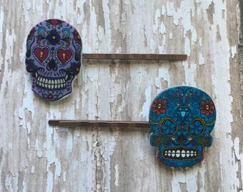 Blue sugar skull bobby pins