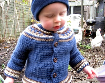 Crochet Pattern for Baby Cardigan Toddler Jacket Sweater yoke PDF Instant Download