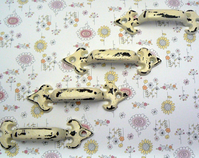 Fleur de lis Shabby Chic OFF White Cast Iron Small Drawer Cabinet FDL Pulls Set of 4