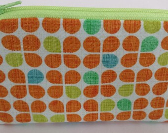 Little Zipper Pouch - Retro Clover, Orange // Coin Purse // Gift Card Holder // Party Favor // Stocking Stuffer // Gift for Kids