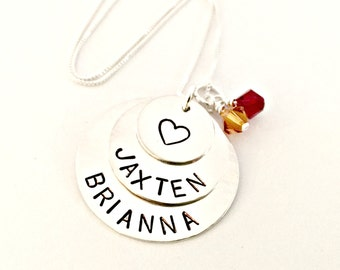 Personalized Stacked Name Necklace - Custom Sterling Silver Hand Stamped Jewelry - Trio of Discs,  Heart, Swarovski Birthstones - Mommy Nana