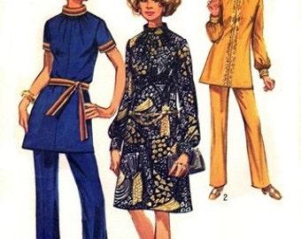 Simplicity 9085 Groovin' Hippie Dress or Tunic & Pants 1970 / SZ12 UNCUT