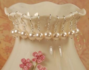 Bridesmaid Pearl Earrings, Bridesmaid Gift, Bridesmaid Jewelry, Pearl Earring, SET of FIVE PAIR, Swarovski 8mm Ivory Pearl, Sterling Silver