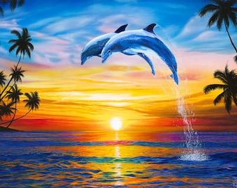 Dolphin Sunset Art Print, Dolphins Art, Ocean Palm Trees Art Print Beach Wall Decor, Dolphin art, Dolphin Poster, Dolphins art print, Sunset