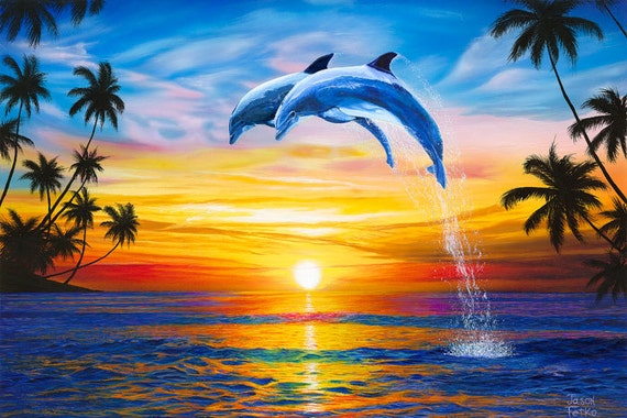 Dolphin Sunset Art Print Dolphins