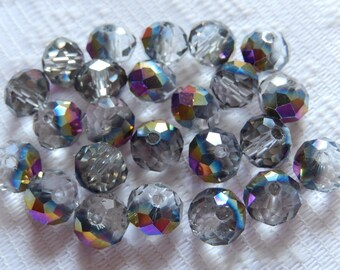 24  Smoke Grey & Purple Metallic AB Faceted Rondelle Crystal Beads  8mm x 6mm