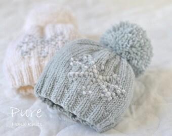 EASY pom pom hat knitting pattern KRISTIN Bobble Hat