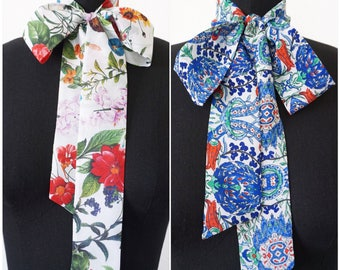 Printed Silk Bow Scarf | Pussy Bow | Silk Scarf | Designer Scarf | Print Scarves | Gifts for her