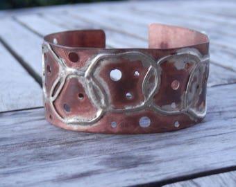 Bracelet Copper and Sterling Silver Cuff, Rigid, Rough, Rustic