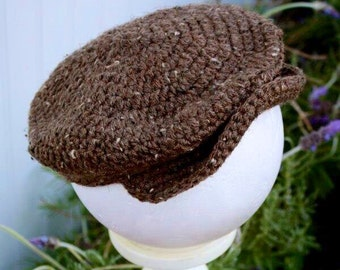 Crochet Newsie Scully Hat Cap Newsboy Hat Infant Toddler 3 Color Choices