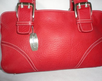 Vintage Tignanello Berry Red Leather Hand Bag*****.