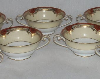 Noritake Roseolyn Cream Soup Bowls Cups x7