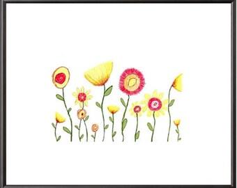 Flower Garden Print Illustration Wall Art Print