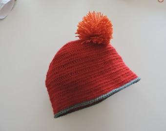 Red Alpaca with pompom Hat orange