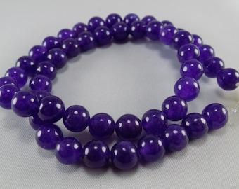 Dark Purple Jade Round Beads - 8mm - sold per strand - #1B355