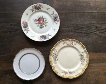 Vintage Victorian Floral China Plates for Plate Wall Display