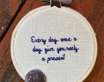 Twin Peaks motivational cross stitch