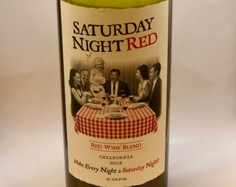 Saturday Night Red Wine Bottle Candle