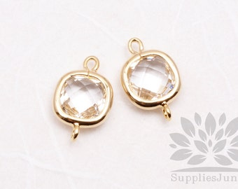 F125-G-CR// Gold Plated Crystal Square Glass Pendant Connector, 2 pcs