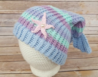 Purple Blue Mermaid Hat, Mermaid Hat, Knitted Mermaid Hat, Knit Mermaid Hat, Mermaid Slouchy, Mermaid Lover Hat, Cosplay Mermaid Hat