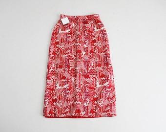 70s carpet skirt | red tapestery skirt | print red skirt