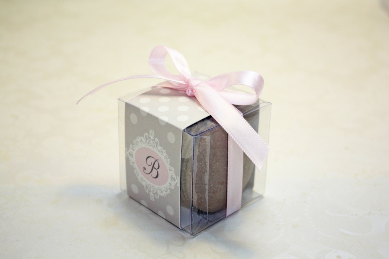 Pink and Grey Macaron Boxes, Polkadot, Pink Wedding Favor Boxes - 24 ...