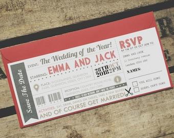 Rustic Vintage Wedding Invitations Ticket