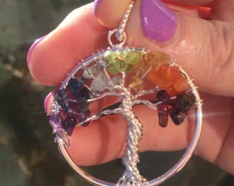 Tree of Life Chakra Pendant / Reiki Charged + FREE Crystal Gift