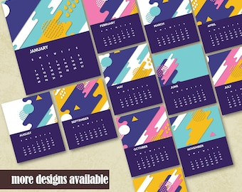 Printable Monthly Calendar 2018 Printable Wall Calendar Printable Office Calendar Instant Download Housewarming Calendar Geometric Design