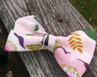 3 inch Pink Floral Fabric Bow