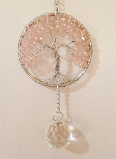 Pink Crystal Sun Catcher,Tree Of Life Window Ornament,Feng Shui ...