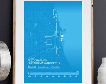Chicago Marathon Personalised Poster / Memento / Gift / Art Print / Route / Map