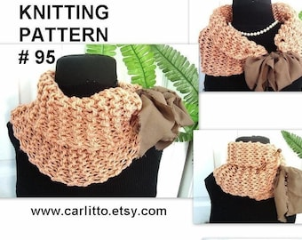 KNITTING PATTERN - # 95, KNIT  cowl, Beginners....make it any size. for the crochet version see pattern number 77. instant download