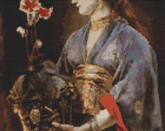 Woman Cross Stitch Kit, Yamatori Cross Stitch, Asian Cross Stitch, Counted Cross Stitch, Embroidery Kit, Art Cross Stitch, Alfred Stevens
