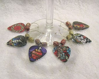 Guitar Pick Wine Charms - Set Of 6 Wine Glass Markers - Stained Glass Religious Theme